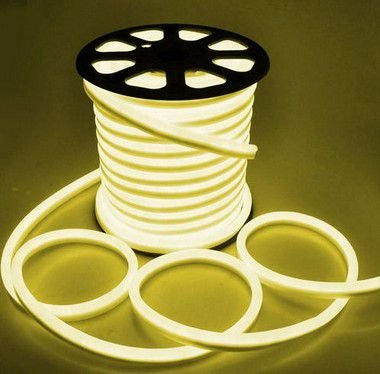 Mangueira Fita LED Neon Flexível Luz Branco Quente 3000k - 12w por metro - 220v -  IP65 - Metro