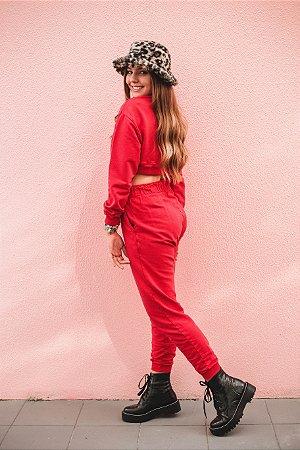 Calça Moletom Basica Vermelha  Princess