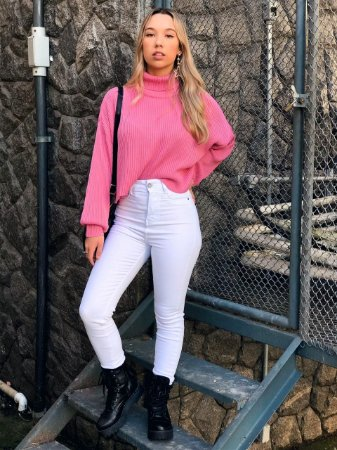 Calça Jeans Branca Elastano Hot Pant Denim Zero