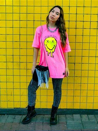 Blusa Smile Estonada Rosa Neon Madalena