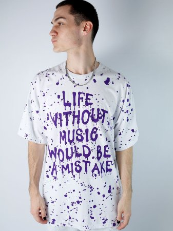 Camiseta Boy Over Life Without Music Branco