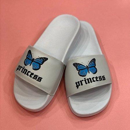 Chinelo Slide Butterfly Branco Princess