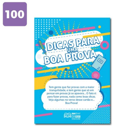 Cartão Dicas para uma Boa Prova (100 unidades)