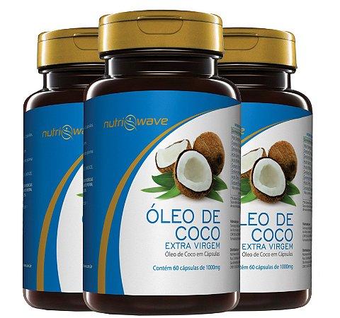 ÓLEO DE COCO NUTRIWAVE 1000mg - Promoção 3 Frascos