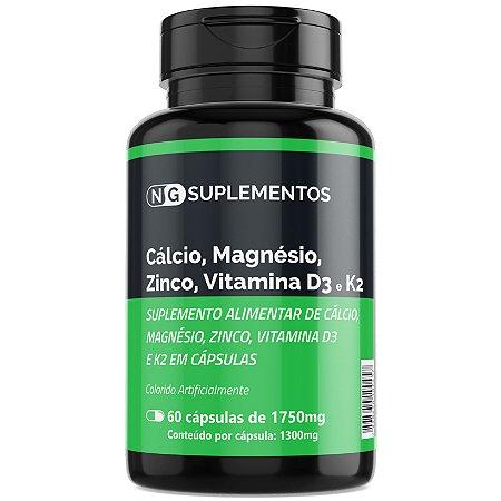 Quinteto Vitamínico - Cálcio, Magnésio, Zinco, Vitaminas D3 e K2