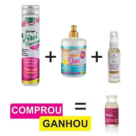 Combo Cabelos Cacheados e Crespos + Serum Capilar + Ampola Reconstrutora de brinde