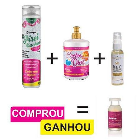 Combo Cabelo Cacheado (Todas Curvaturas) + Serum Nutritivo Capilar + Brinde (1 und. Ampola Reconstrutora)