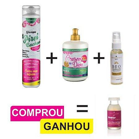 Combo Cabelo Crespo (Todas Curvaturas) + Serum Nutritivo Capilar + Brinde (1 und. Ampola Reconstrutora)