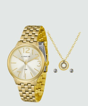 Kit Relógio Feminino Lince LRGH076L KV38C2KX
