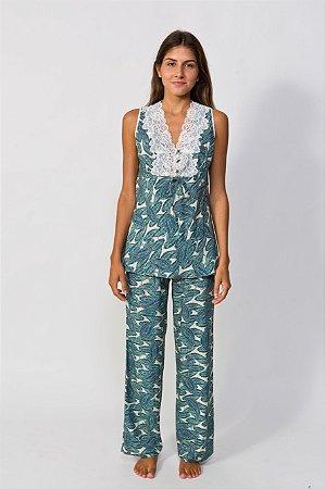 Pijama sem manga estampa folhagem