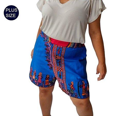 Shorts Curto Plus Size em Tecido Africano 100% ALGODÃO Estampado