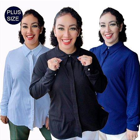 Kit 3 Camisas Plus Size Feminina de viscose com elastano