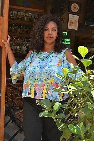 Regata Cropped Cigana Plus Size Estampada Viscose