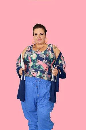 Kimono Plus Size Bicolor em Malha