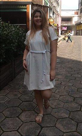 Vestido Curto em Linho com Cinto em Corda