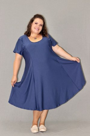 Vestido Evasê Plus Size em Suplex liso