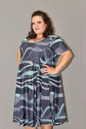 Vestido Evasê Plus Size em Suplex Estampado Aquamarine
