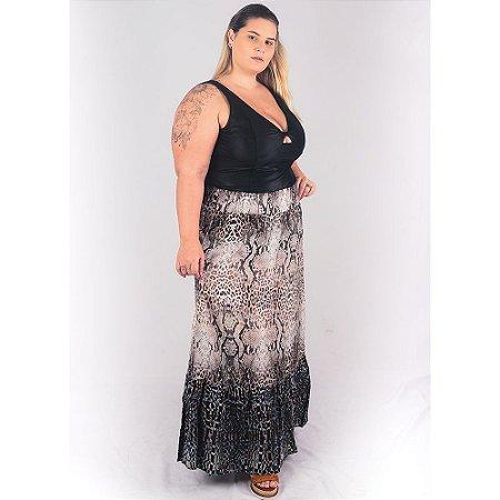 Saia Longa modelo Três Marias Plus Size em tecido de Viscose