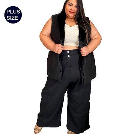 Calça Pantalona Alfaiataria cintura alta Plus Size em Linho
