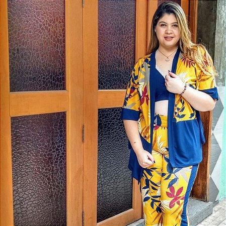 Kimono Estampado  Plus Size Bicolor em Malha