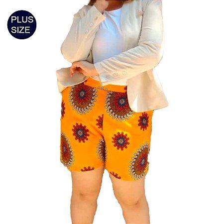 Shorts Curto Plus Size em Tecido 100% Algodão Africano Estampado Arabesco