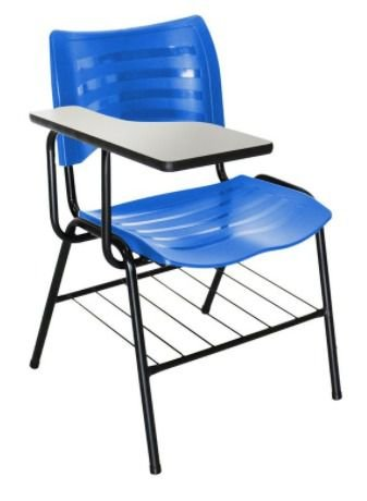 Cadeira universitária Masticmol com prancheta fixa e porta livros
