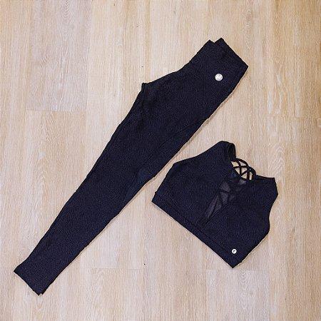Calça legging com tule - Cropped com tule