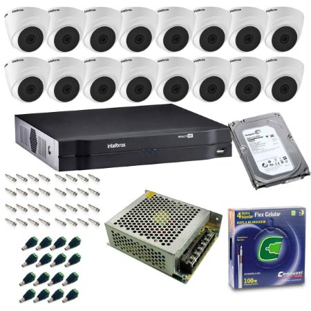 Kit DVR 16 Canais Intelbras + 16 Cameras Dome VHL 1120D + Fonte + Cabo + Acessórios + HD 1TB