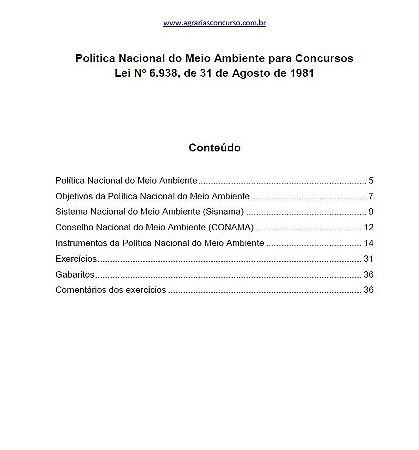Política Nacional do Meio Ambiente (Lei nº 6938/1981)  para Concursos