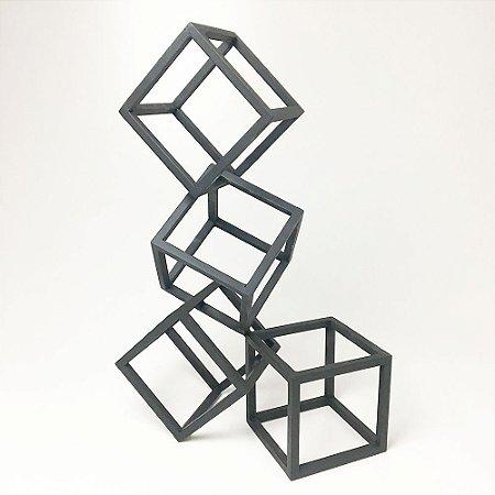 Escultura Cubos G Preta