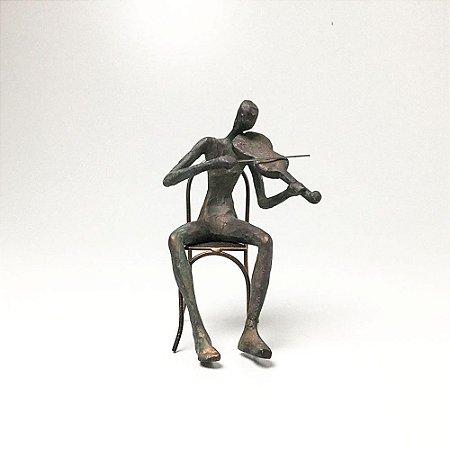 Escultura em Resina Violinista