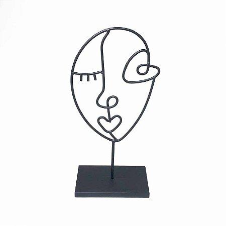 Escultura Face em metal Line Art