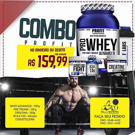 COMBO: Whey Pro Advanced 900g + Creatine 150g + Bcaa 60cps + Pré-Treino 120g + Coqueteleira