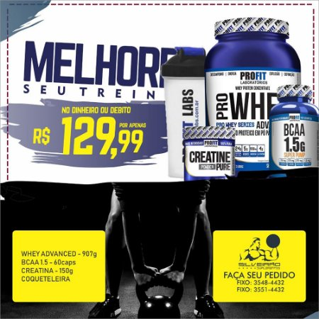 COMBO: Whey Pro Advanced 900g + Creatine 150g + Bcaa 60cps + Coqueteleira