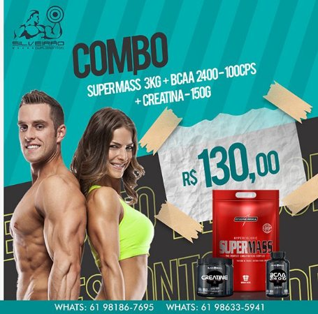 COMBO: Super Mass 3kg + Bcaa 2400 100cps + Creatina 150g - Integral Medica