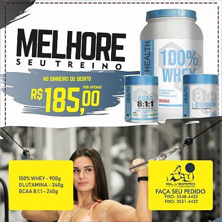 COMBO: 100% Whey 900g + Glutamina 240g + Bcaa 8:1:1 240g