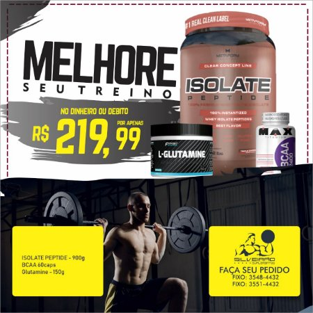 COMBO: Isolate Peptide 900g + Glutamine 150g + Bcaa 60cps