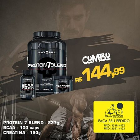 COMBO: Protein 7 Blend 837g + Creatine 150g + Bcaa 2400 100cps