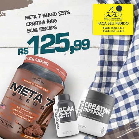 COMBO: Meta 7 Blend 837g + Creatine 100g + Bcaa 120cps