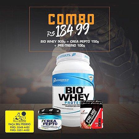 COMBO: Bio Whey 909g + Pré-Treino 100g + CreaPepto 150g