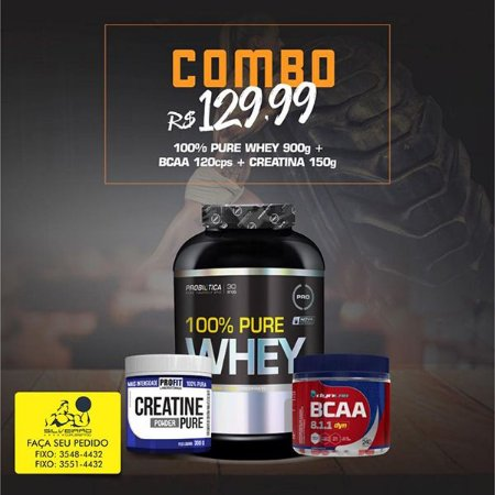 COMBO: 100% Pure Whey 900g + Bcaa Dyn 120cps + Creatine Pure 150g