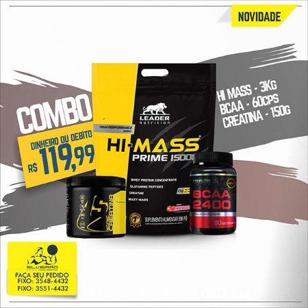 COMBO: Hi-Mass Prime 1500 3kg + Creatine 150g + Bcaa 2400 60cps
