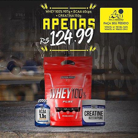 COMBO: Whey 100% Pure 907g + Bcaa 1.5g 60cps + Creatine 150g