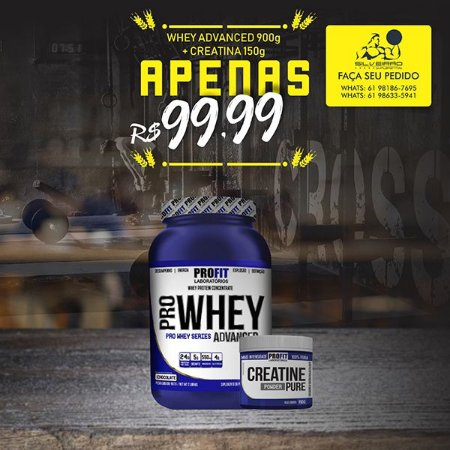 COMBO: Pro Whey Advanced 907g + Creatine Pure 150g - Profit Laboratorios