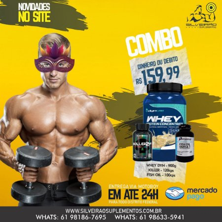 COMBO: Whey Dyn 900g + Omega 3 100cps + Cafeina 120cps - Dynamic Lab
