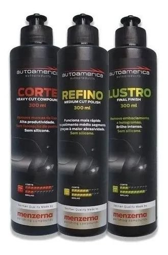 Kit Polimento Menzerna Corte, Refino e Lustro