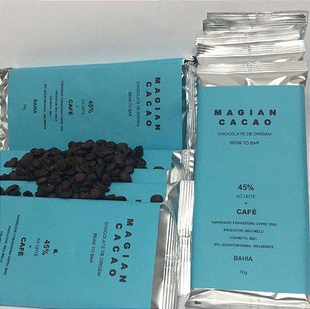 Chocolate 45% ao leite com Café Bourbon Sombreado - 70g