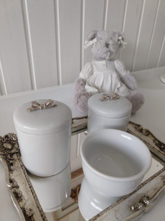 Kit Higiene Porcelana Laço Prata - 3 Peças