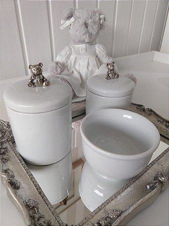 Kit Higiene Porcelana Urso Prata - 3 Peças