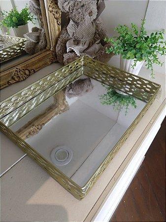 Bandeja de Metal - Dourado com Espelho